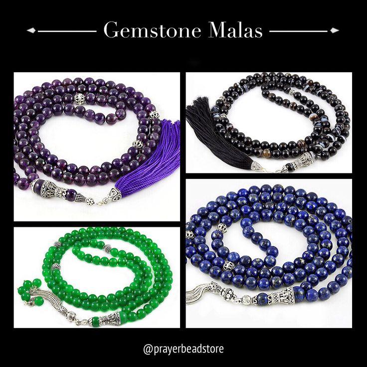 High Grade Gemstone Malas www.prayerbeadstore.com #mala #meditation #malabeads
