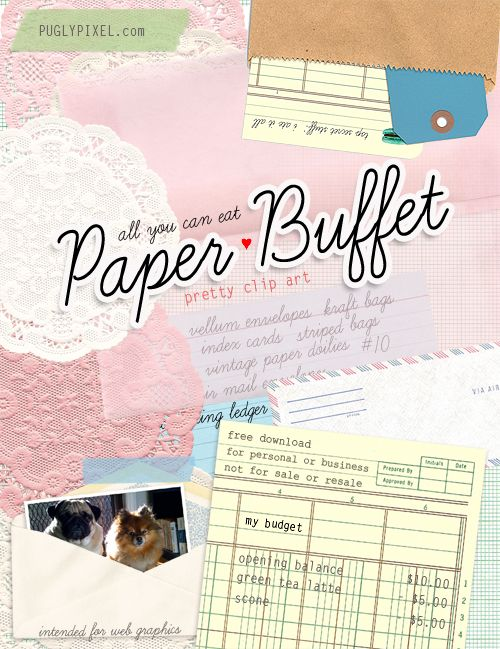 Free Clip Art: Paper Buffet (All You Can Eat): Clip Art Free, Free Paper, Printable Paper, Free Printable, Freebies Printable, Puglypixel Freebies, Art Downloads, Free Clipart, Paper Buffet