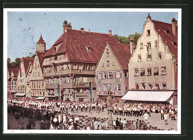 alte AK Biberach, Schützenfest, Festzug auf dem Marktplatz 1959