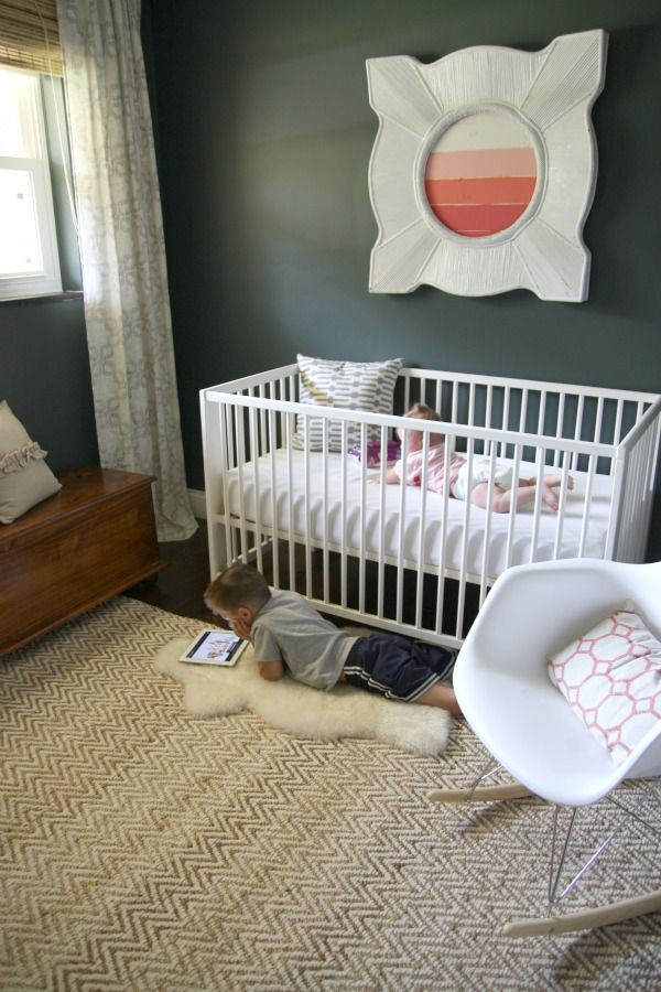 Very pretty baby room. I like the white on dark with excellent patterns used. Details at: http://www.housetweaking.com/2012/08/28/mabreys-room/