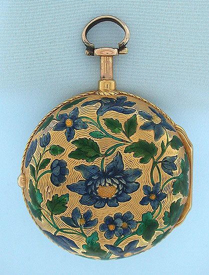 French 18K gold and enamel verge and fusee dumb repeater by Du Tertre, Paris, circa 1740.