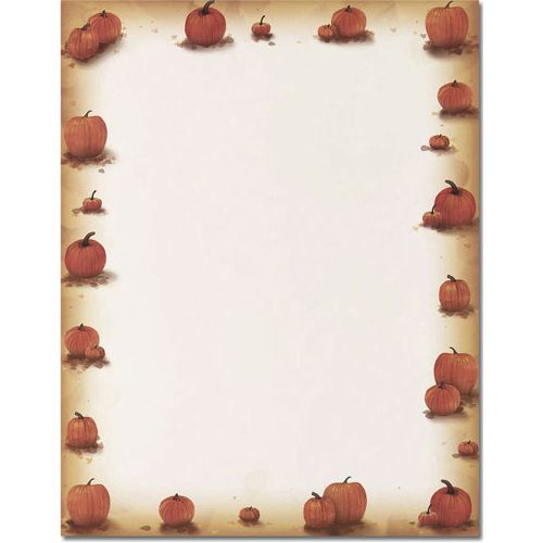 This computer printer paper features a border of autumn orange pumpkins and plenty of room in the middle for your personalized message. The 8 1/2″ x 11″ stationary paper runs smoothly through inkjet printers, laser printers and copiers. Great for Halloween or Thanksgiving flyers, newsletters or invitations.