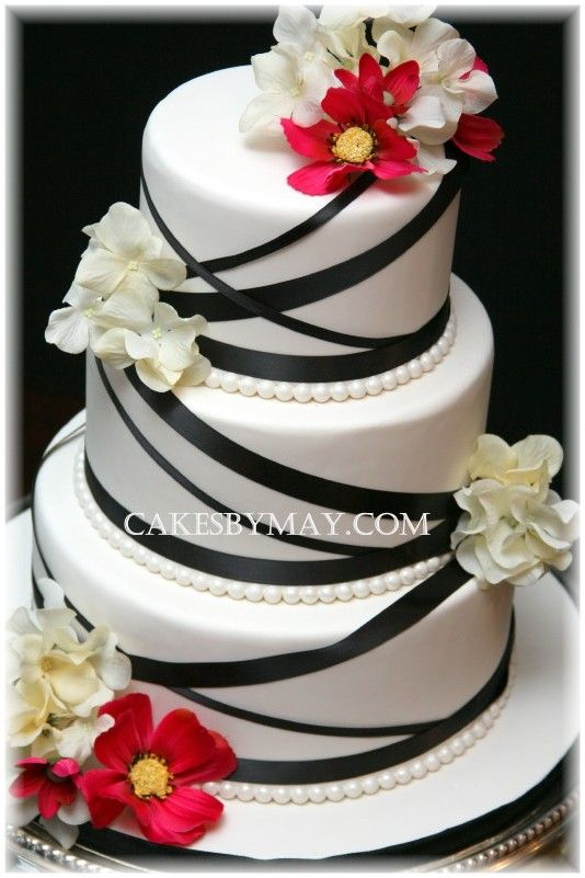 Black Ribbon And Flowers Cake Love This Idea