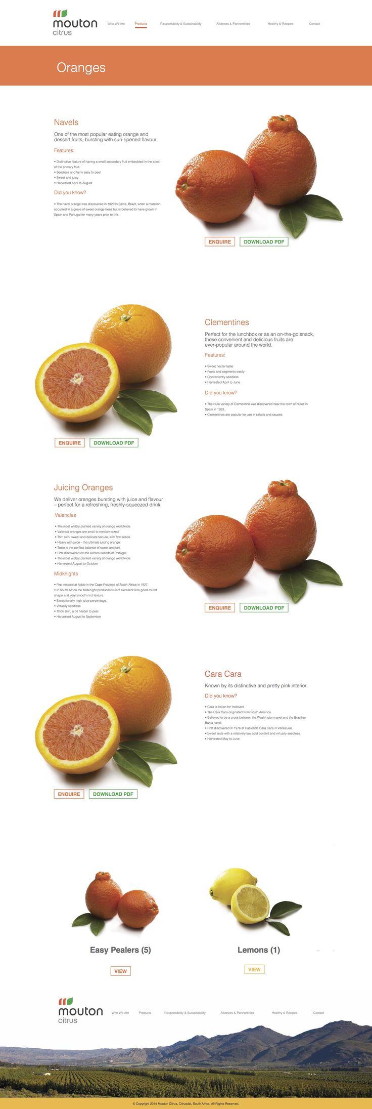 Mouton citrus, parallax, web design, UI, UX, fruit, farm, product layout