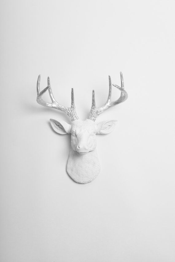 Faux Deer Head Mount- The MINI Frankfurt - White W/ Metallic Antlers Resin Deer Head- Stag Wall Decor & Animal Heads by White Faux Taxidermy
