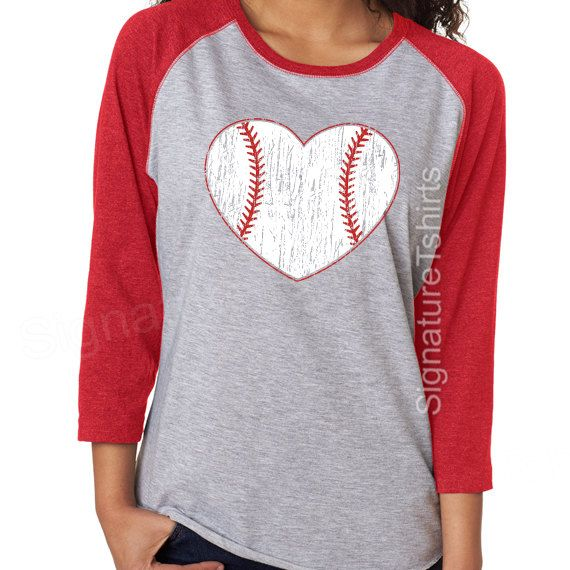 baseball baseball shirt baseball raglan baseball womens t shirt vintage baseball heart 34 sleeve graphic tshirt game sport tee shirt - Baseball T Shirt Designs Ideas