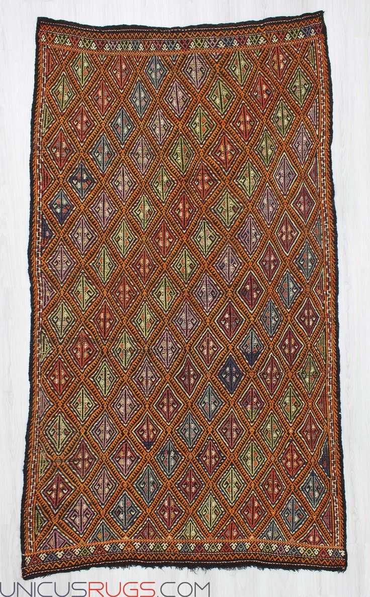 """Handwoven vintage embroidered kilim rug from Denizli region of Turkey In good condition. Approximately 50-60 years old. Width: 5' 1"""" - Length: 9' 0"""" Embroidered Kilims"""