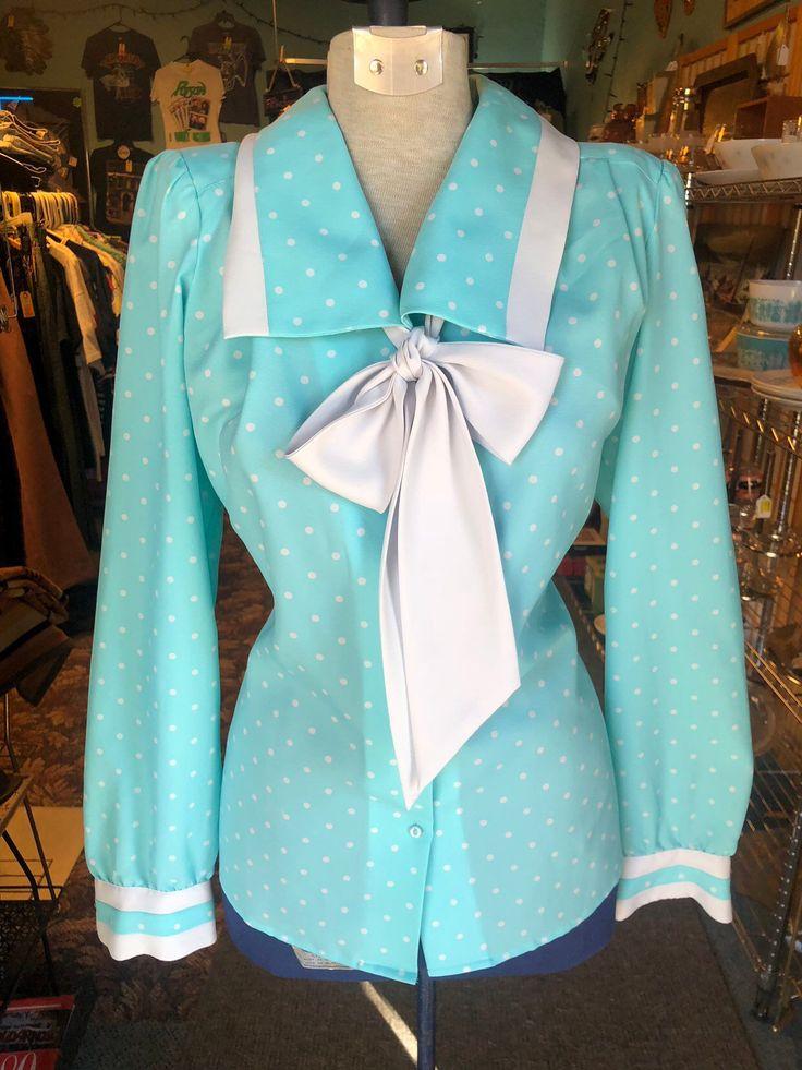 80's Vintage Aqua Polka Dot Sailor Collar Blouse   Kawaii ...