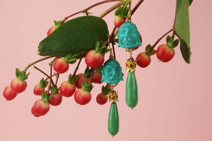Buddha drop earring blossoms