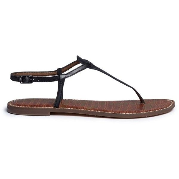 Sam Edelman 'S-Gigi' leather thong sandals (710 HKD) ❤ liked on Polyvore featuring shoes, sandals, black, black shoes, black thong sandals, leather shoes, flat thong sandals and crocodile leather shoes