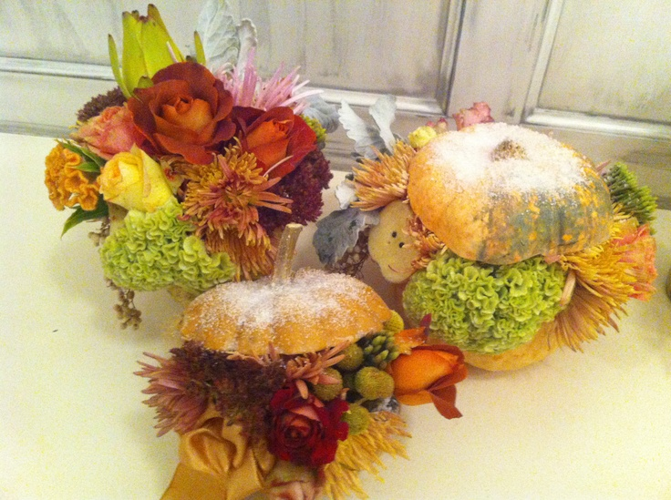 Pale pumpkin centerpieces with live flowers in romantic, Autumn colours.  Inspiration Szilvia Gyenes (one of our favourite florist in Hungary). Made by Timea Varga-Kovacs wedding planner