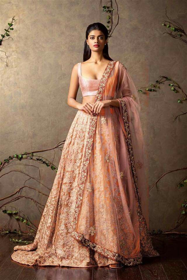 Shyamal and Bhumika | bridal| peach|Indian wedding | Indian bride | lehenga |