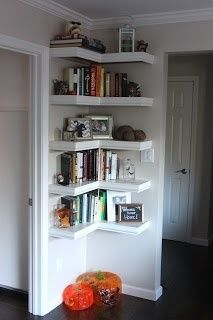 Corner shelves-great use of space! Family room