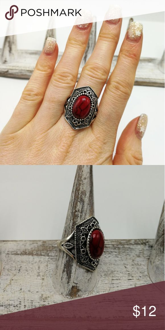 PLUS size Geometric Antique Tibet Silver ornate New with Tags. Gorgeous Natural Gemstone White Buffalo Turquoise Silver Plated ring. Mixed Metals. Lead & Nickel free. No trades or holds. Price is firm. Bundle to SAVE. RR#00002 Red Coral Howlite Jewelry Rings