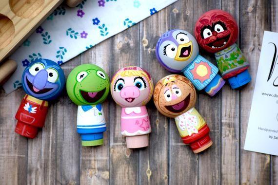 Muppet Babies Peg Doll Toys Handpainted Custom Wooden Toys