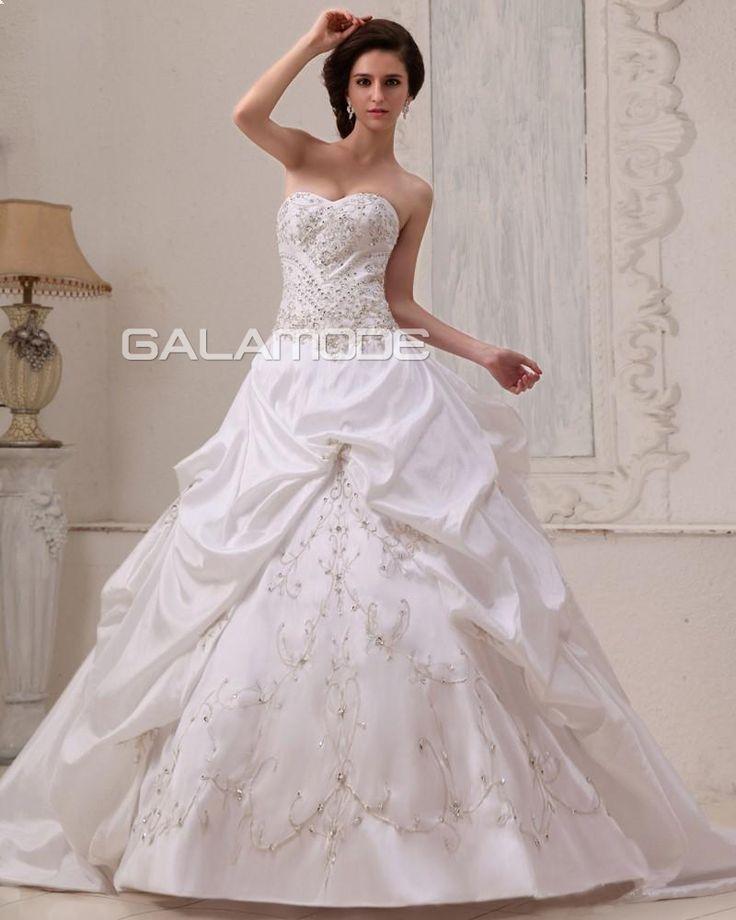 galamode.fr - Robe de Mariée #weddingdress Pompeuse Ruchés Satin Élastique Traîne Cathédrale