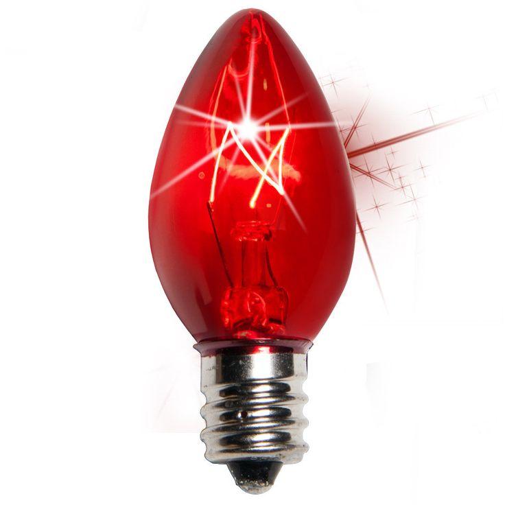 25 bulbs c7 twinkle triple dipped transparent red 7 watt lamp - Christmas Light Bulb Sizes