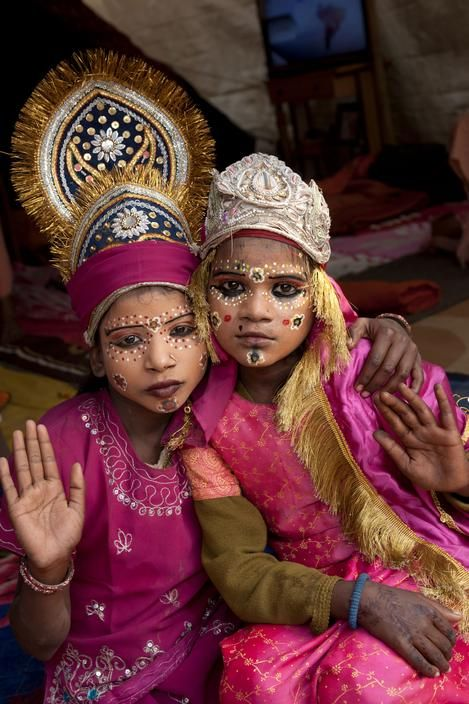 noukadubi:  Two girls dressed and made up as goddesses Allahabad, India Abbas