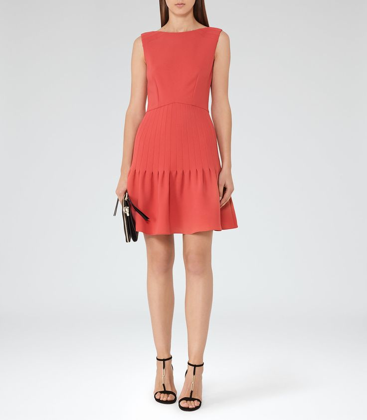 Marisa Lotus Red Pin-Tuck Dress - REISS