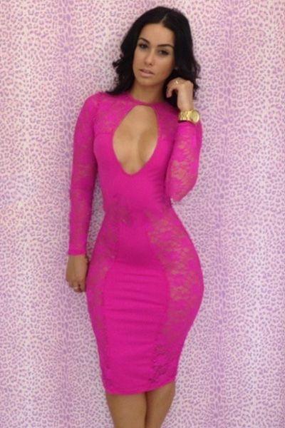Hot Pink Lace Spliced Midi Bodycon Dress