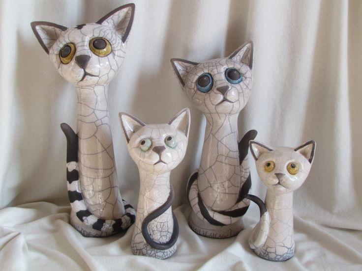 sculpture raku chat animaux céramique grès Danièle Meyer