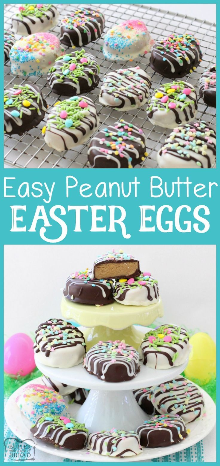 Easy recipe for Peanut Butter Easter Eggs with a soft, sweet filling! Simple, cute & festive homemade treat. Butter With A Side of Bread via /ButterGirls/