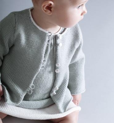 Modèle gilet bébé uni en jersey - Modèles tricot layette - Phildar