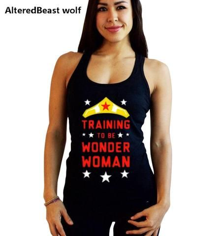 295067de181b5 Wonder Woman print Bodybuilding Women Cotton Gyms Tank Tops summer fitness  women vest top O-Neck black Sleeveless Shirt Stringer