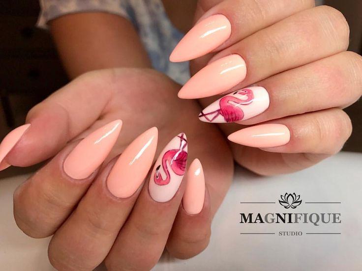 "Flamingo nails painting pink Magnifque Studio (@magnifique_studio_indigo_nails) auf Instagram: ""Flamingo #indigo #indigonails #indigomiami #indigolovers #indigonailslab #flamingo #flamingonails…"""
