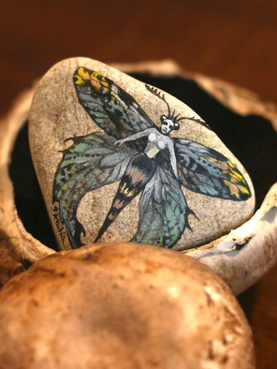 Stone with a hand-painted witch with colorful by SkadiaArt on Etsy