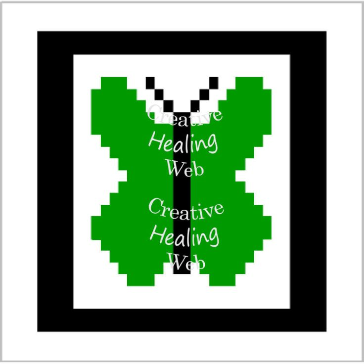 Green Butterfly graph pattern to make knitted squares for a blanket. Knitting pattern by CreativeHealingWeb on Etsy