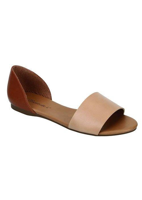 Brigit Open Toe Flats - Natural