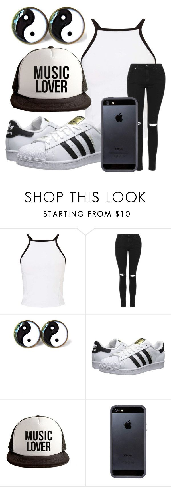 """Black and White"" by freedom2095 ❤ liked on Polyvore featuring Miss Selfridge, Topshop, adidas Originals and Tavik Swimwear"