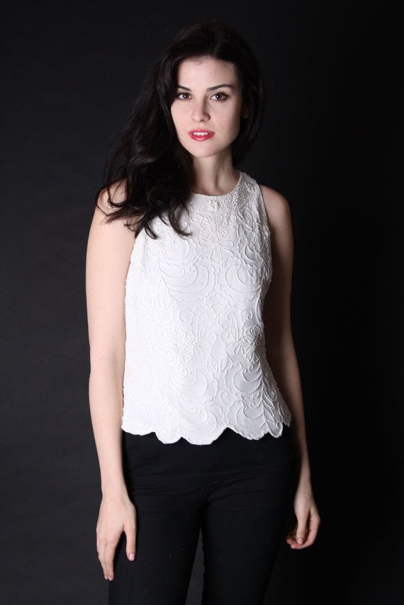 Vintage Sequin Top White Beaded Top White Sequin by aiseirigh, $72.00