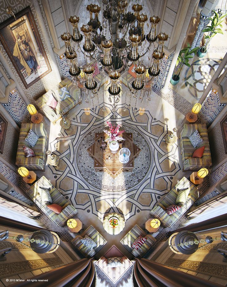 Aerial View Of A Moroccan Style Majlis Reception And Or Sitting Room