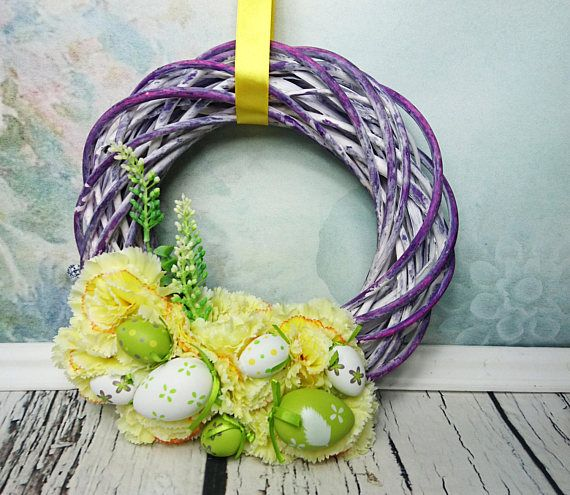 Purple yellow green Easter spring floral flower by MKedraHandmade