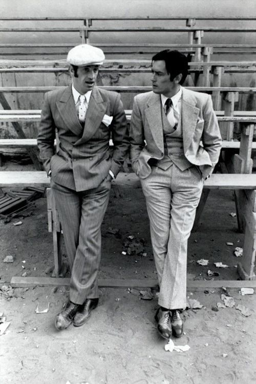 une-very-stylish-fille:  Jean Paul Belmondo and Alain Delon (Borsalino. 1970. Dir. Jacques Deray)