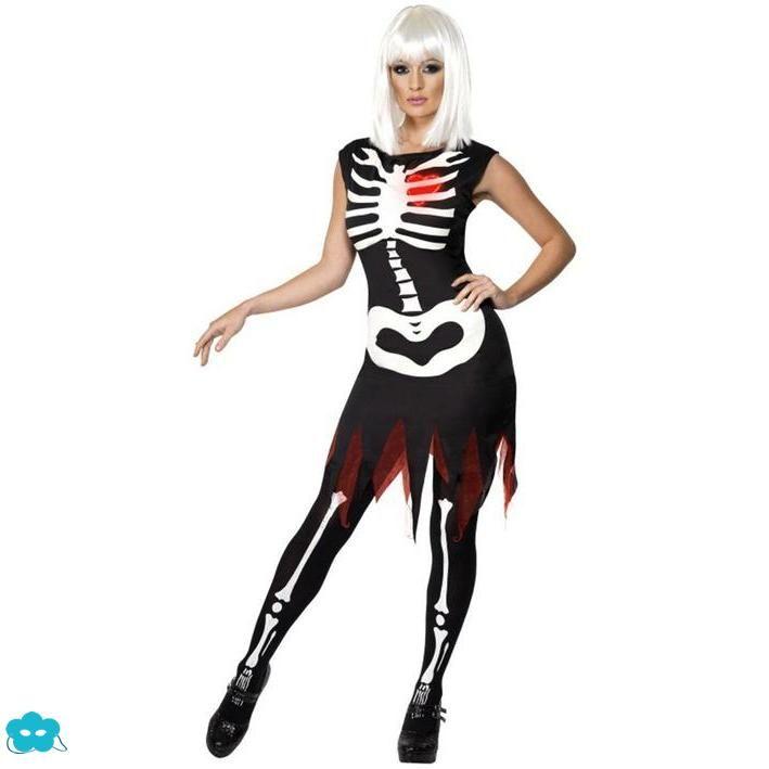 Disfraz de esqueleto brillante para mujer