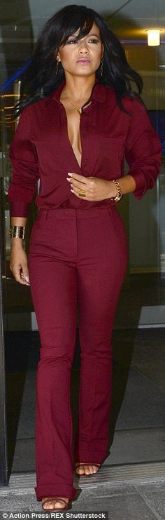 Revealing: Christina Milian stepped out for an appearance on Good Day New York in NYC on Monday morning in an unbuttoned shirt which she appeared to wear without support