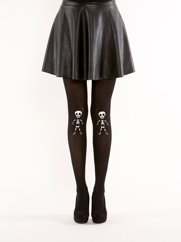 Cute skeleton tights by Virivee! 40 denier, semi-opaque, soft touch microfibre tights.
