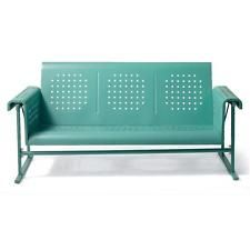 Metal Modern Retro Vintage Vibe Outdoor Sofa Glider Patio Garden Furniture Blue