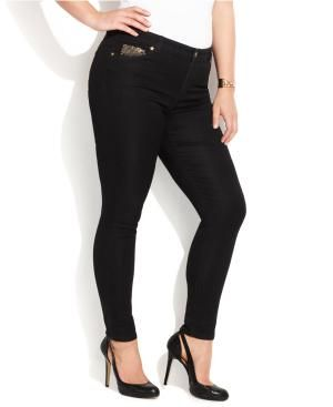 Here's a look at 7 fashionable plus-size jeans to flatter your shape if you've got bigger curves.: MICHAEL Michael Kors Jet Set Denim Leggings (Plus Size)