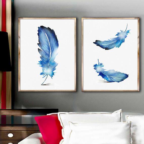 Blue Feather Watercolor Print, Feather Decor Room Set 2, Blue Feather Watercolor Painting, Feather Wall Art, Original Gift Idea