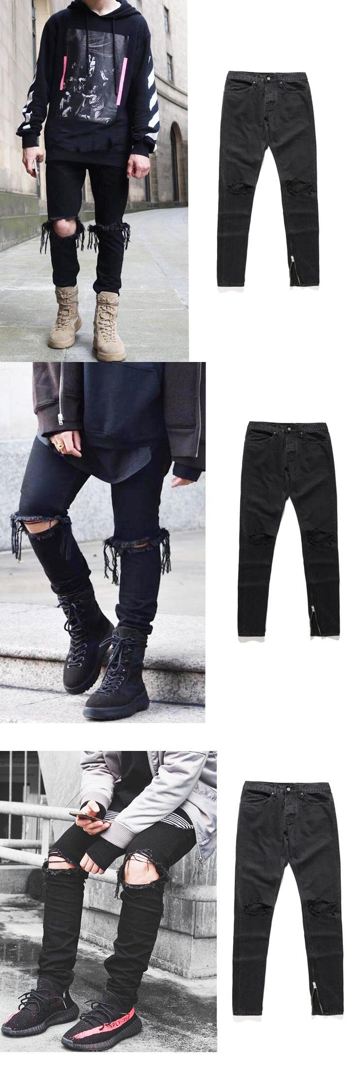 high quality 2017 fashion mens jeans hole Full Length pants ankle zipper cool black jogger damage hip hop rock star Casual jeans