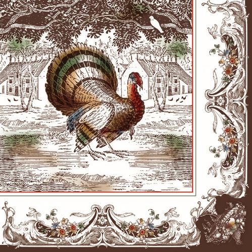 'Turkey Toile' beverage napkin. Available in beverage, lunch, and paper plate. Thanksgiving Dinner!
