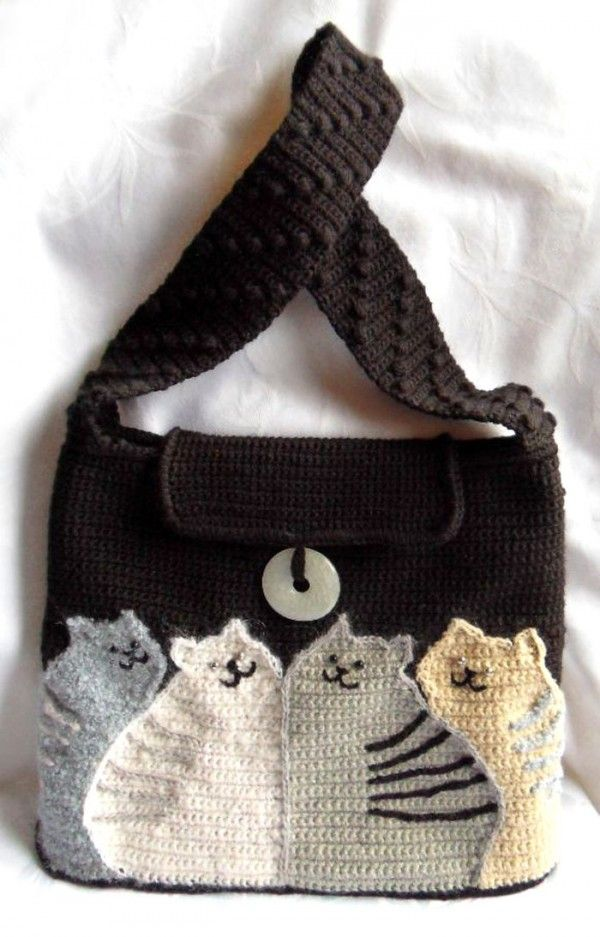 cat bag - free crochet pattern - use google translate (and the diagrams) ~ Design Idea ~ Just make a purse & Add Kitty Appliques!
