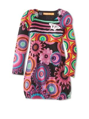 69% OFF Desigual Kid's Long Sleeve Dress (Black Multi)