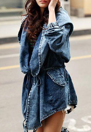 Loose Fit Oversized Hood Belted Washed Denim Jacket