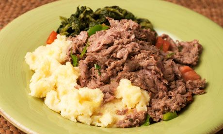 Seswaa (pounded, shredded meat) and bogobe (polenta) Photograph: Bon Appetit/Alamy
