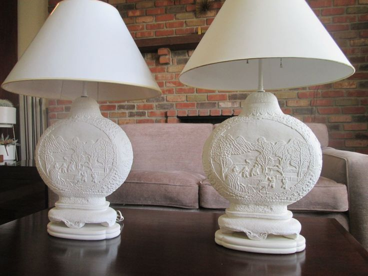 Vintage Pair Of Large Double Socket Marbro White Plaster Asian Table Lamps